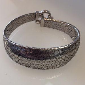 14k white gold woven bracelet